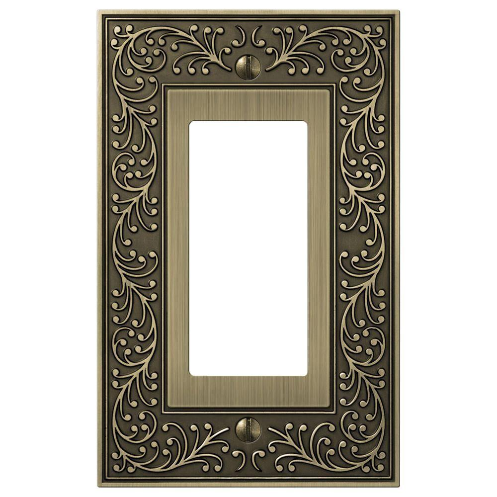 Brass Light Switch Covers Endearing Hampton Bay Bleinhem 1 Decora Wall Plate  Brushed Brass Cast Decorating Inspiration