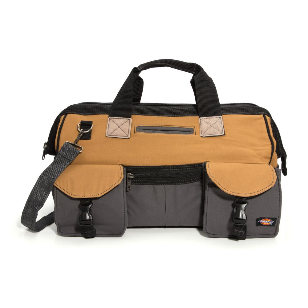 Dickies 18 in. Soft Sided Construction Work Tool Bag, Grey/Tan