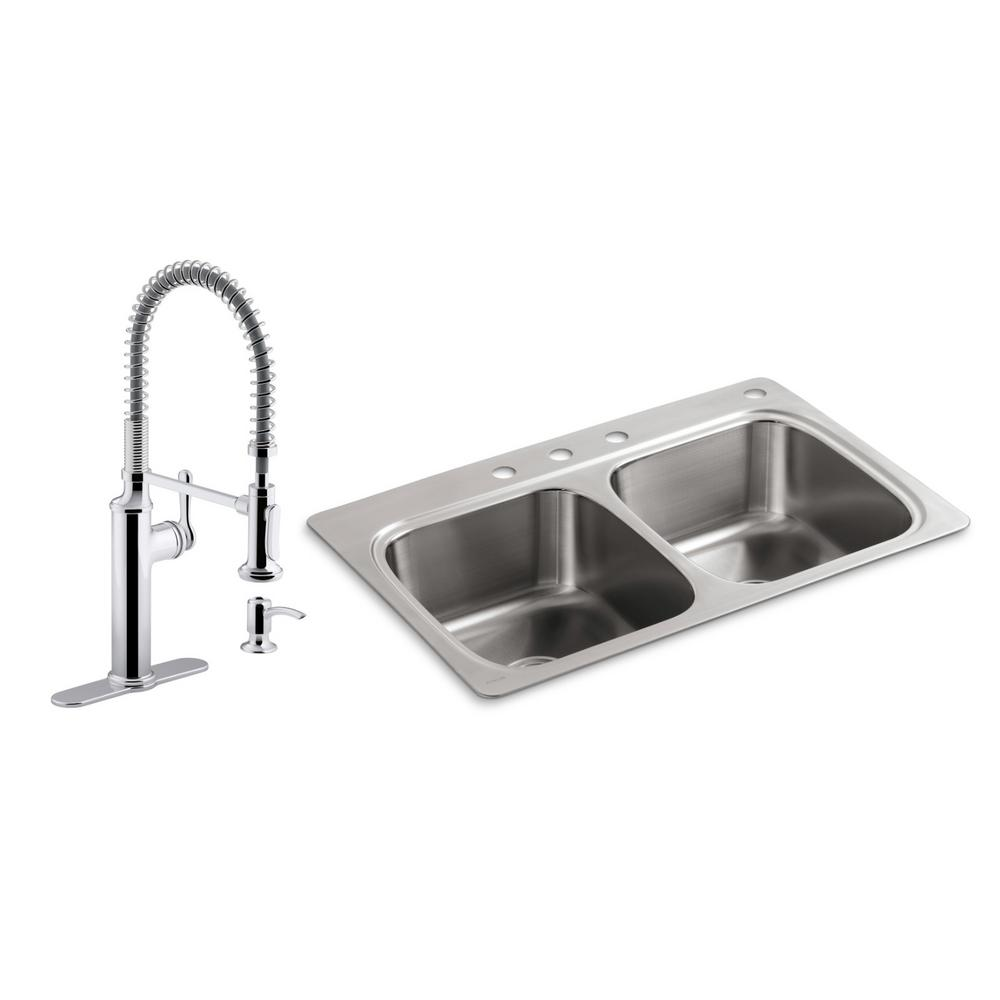 Kohler Verse All In One Drop Stainless Steel 33 Double Bowl Kitchen Sink With Sous Faucet