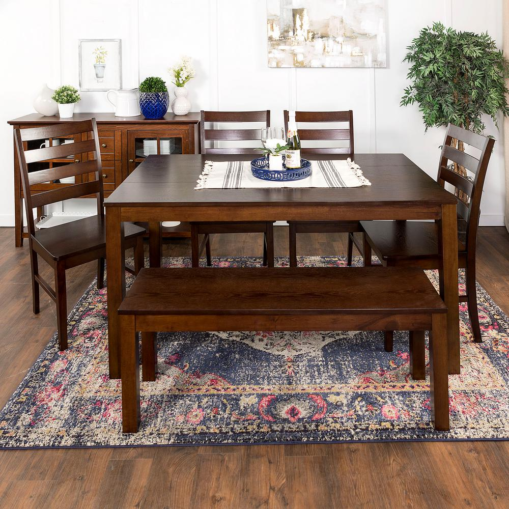 Walker Edison Furniture Company Homestead 6 Piece Walnut Wood Dining Set Hd60hswt 6 The Home Depot