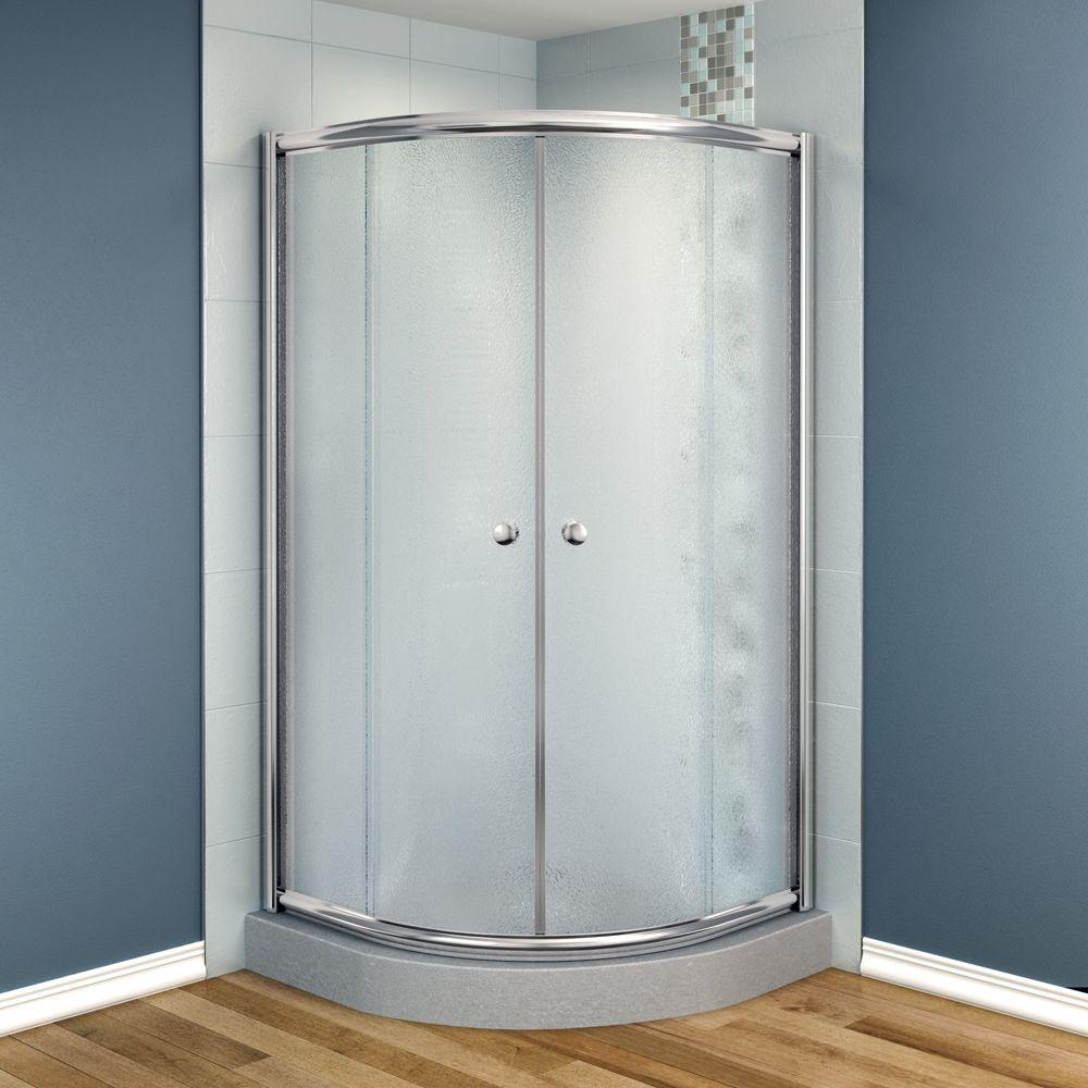 MAAX Talen 40 in. x 40 in. x 70 in. Neo-Round Frameless Corner Shower Door in Frost Glass and Chrome Finish-DISCONTINUED