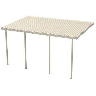 18 ft. x 10 ft. Ivory Aluminum Attached Solid Patio Cover with 4 Posts (10 lb. Live Load)