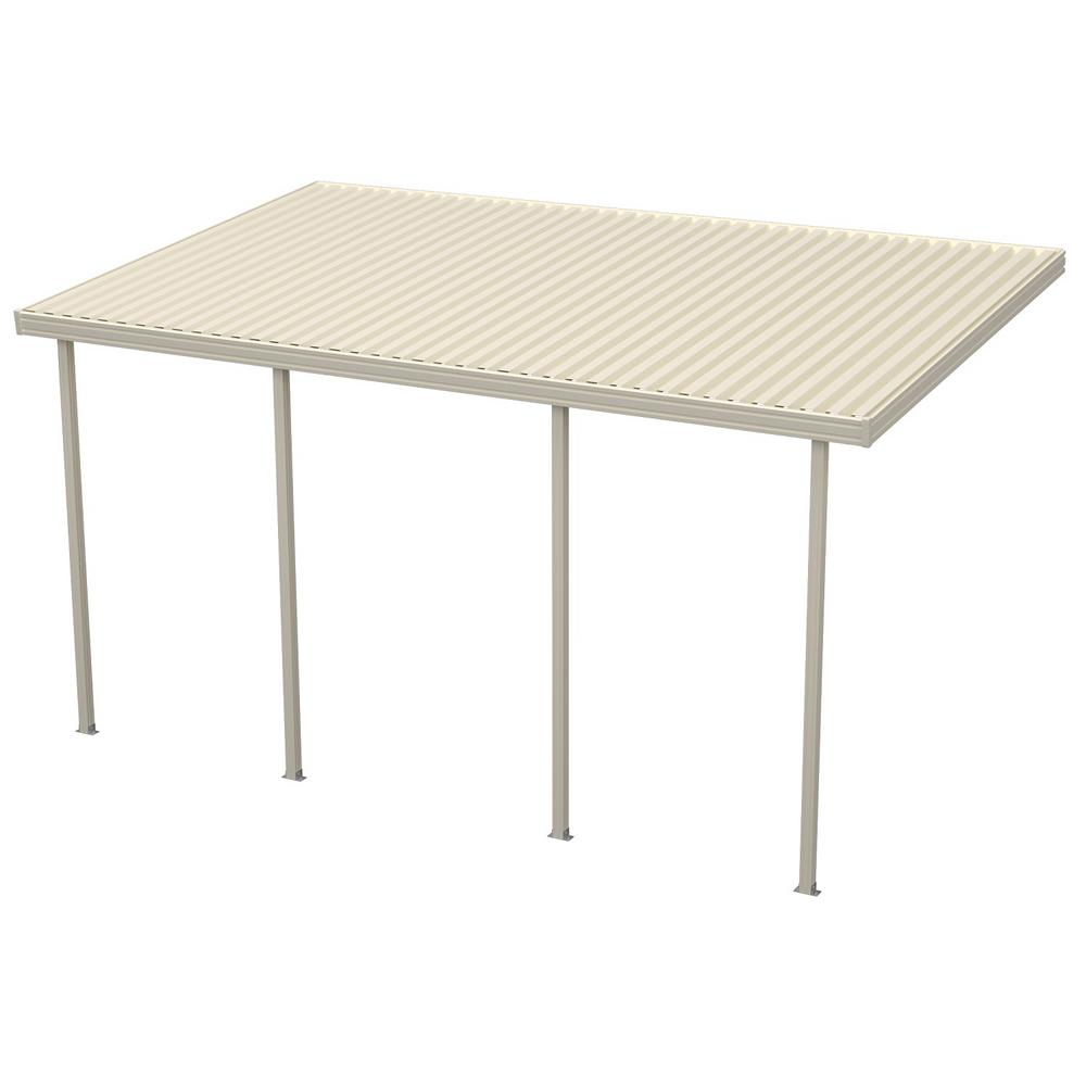 16 ft. x 10 ft. Ivory Aluminum Attached Solid Patio Cover