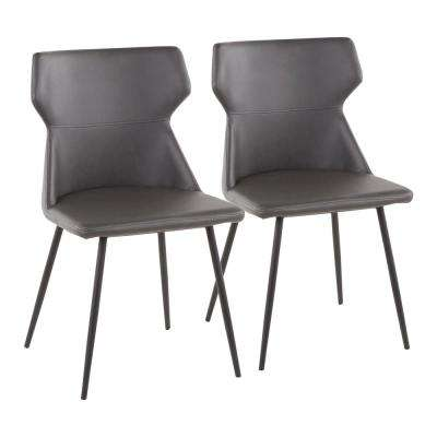 Hex Grey Faux Leather Contemporary Chair