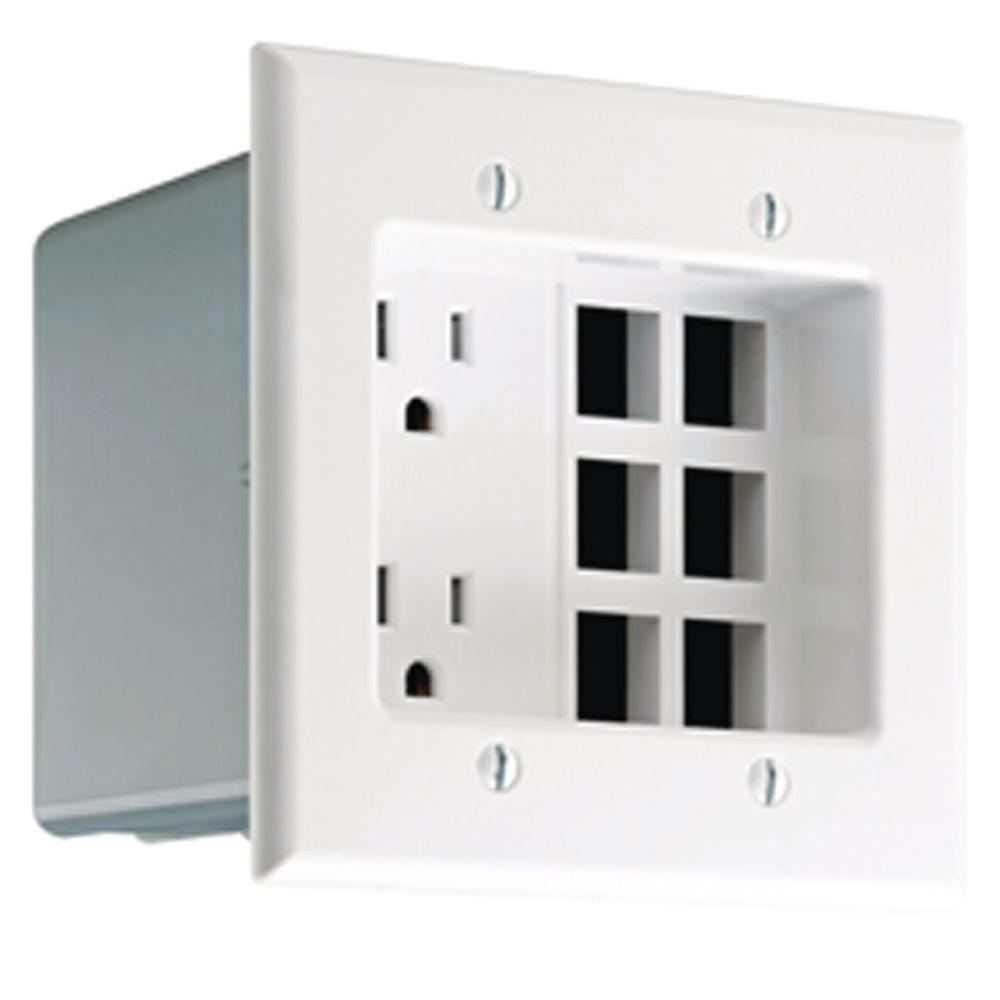 2-Gang White Duplex Outlet/QuickPort Plate Recessed Device