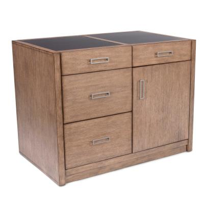 Big Sir Brown Oak Kitchen Island with Quartz Top