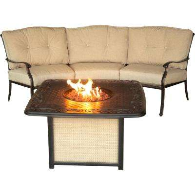 Concord 2-Piece Aluminum Outdoor Conversation Set with Tan Cushions and Cast-Top Fire Pit