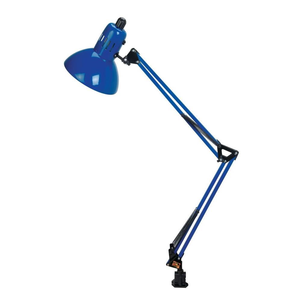 Illumine Designer Collection 35 in. Blue Desk Lamp with Blue Metal Shade