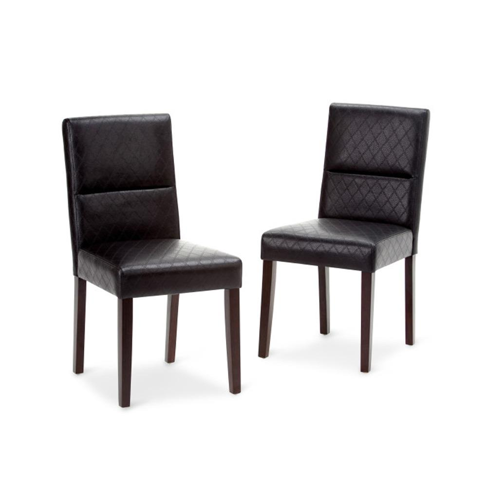 Faux Leather Parsons Dining Room Chairs: Simpli Home Ashford Black Faux Leather Parsons Dining Chair (Set Of 2)-AXCDCHR-005-BL