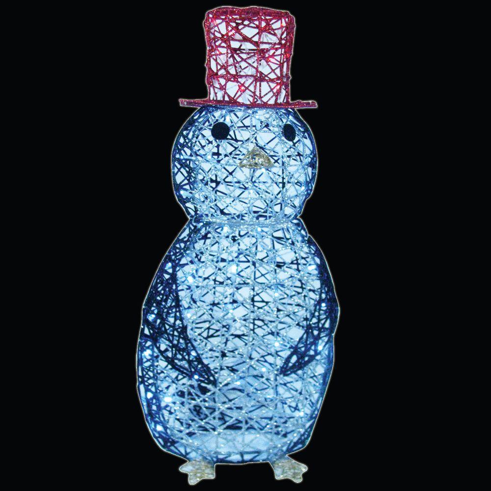 32 In Led Spun Glitter Penguin Wireframe Silhouette