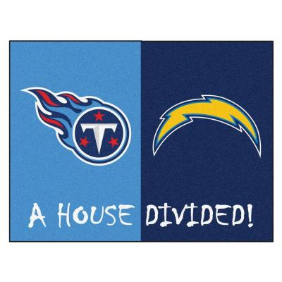 NFL Chargers/Titans Blue House Divided 3 ft. x 4 ft. Area Rug