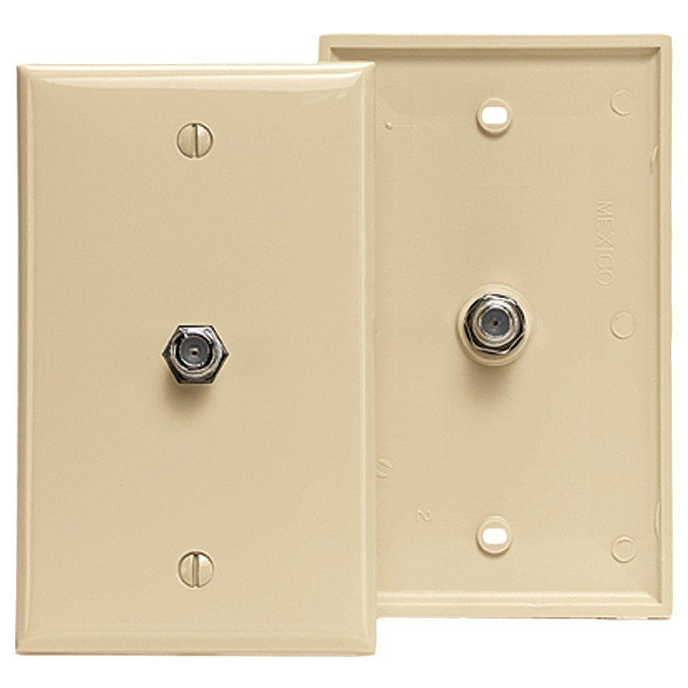 F-Connector Standard Video Wall Jack, Ivory
