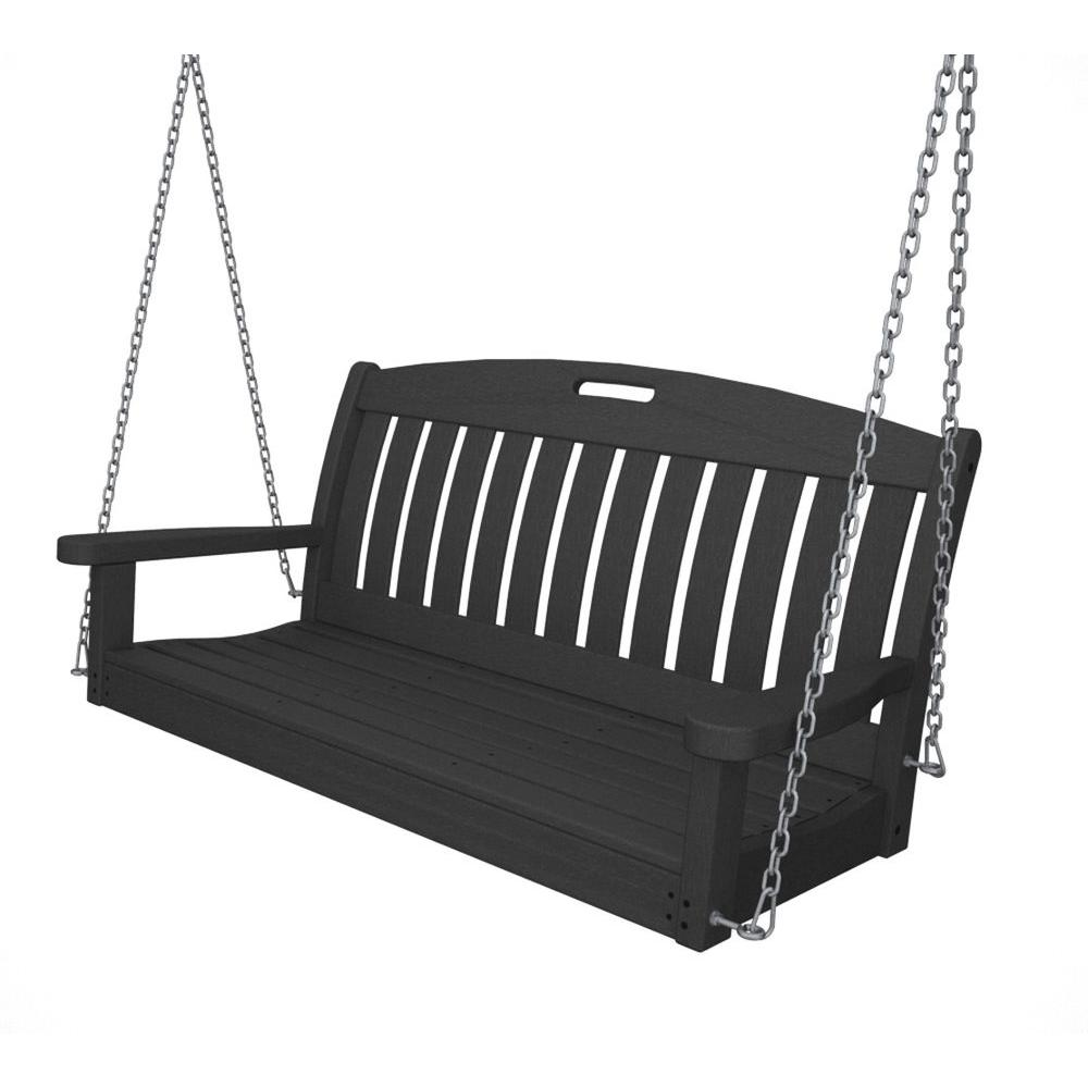 Nautical 48 in. Slate Grey Plastic Outdoor Porch Swing