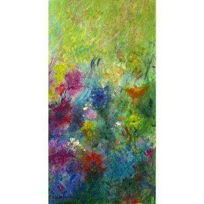 "38 in. x 20 in. ""Ellen's Garden Panel III"" ""By Valentino Bustos"" Hand Painted Boxed Canvas Wall Art"