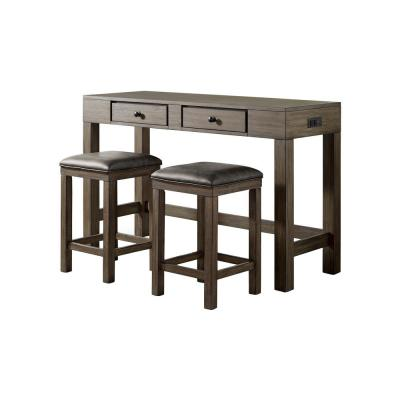 Cohasset 3-Piece Light Walnut and Gray Counter Height Dining Table Set