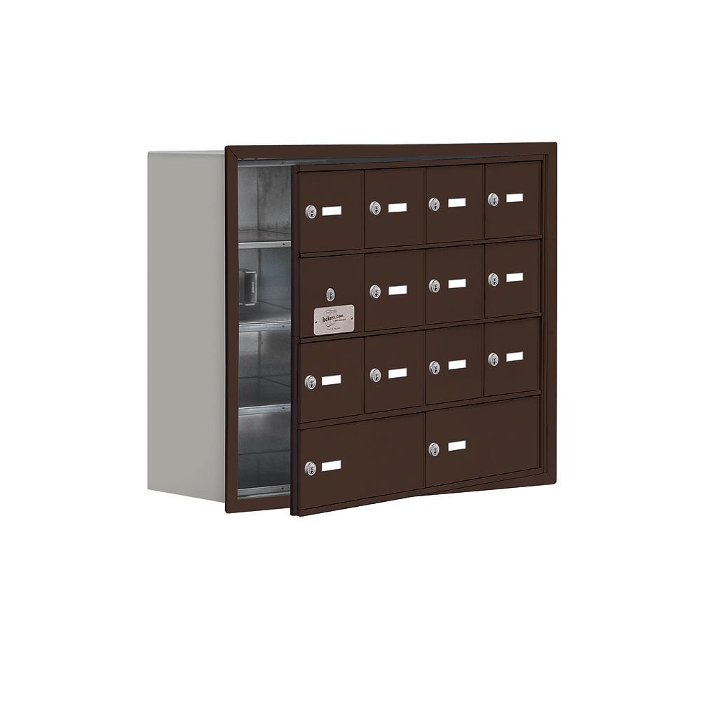 19100 Series 29.25 in. W x 24.25 in. H x 8.75 in. D 13 Doors Cell Phone Locker Recess Mount Keyed Lock in Bronze