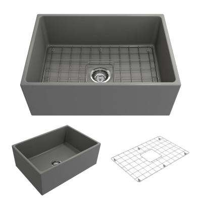 Contempo Farmhouse/Apron-Front Fireclay 27 in. Single Bowl Kitchen Sink with Bottom Grid and Strainer in Matte Gray