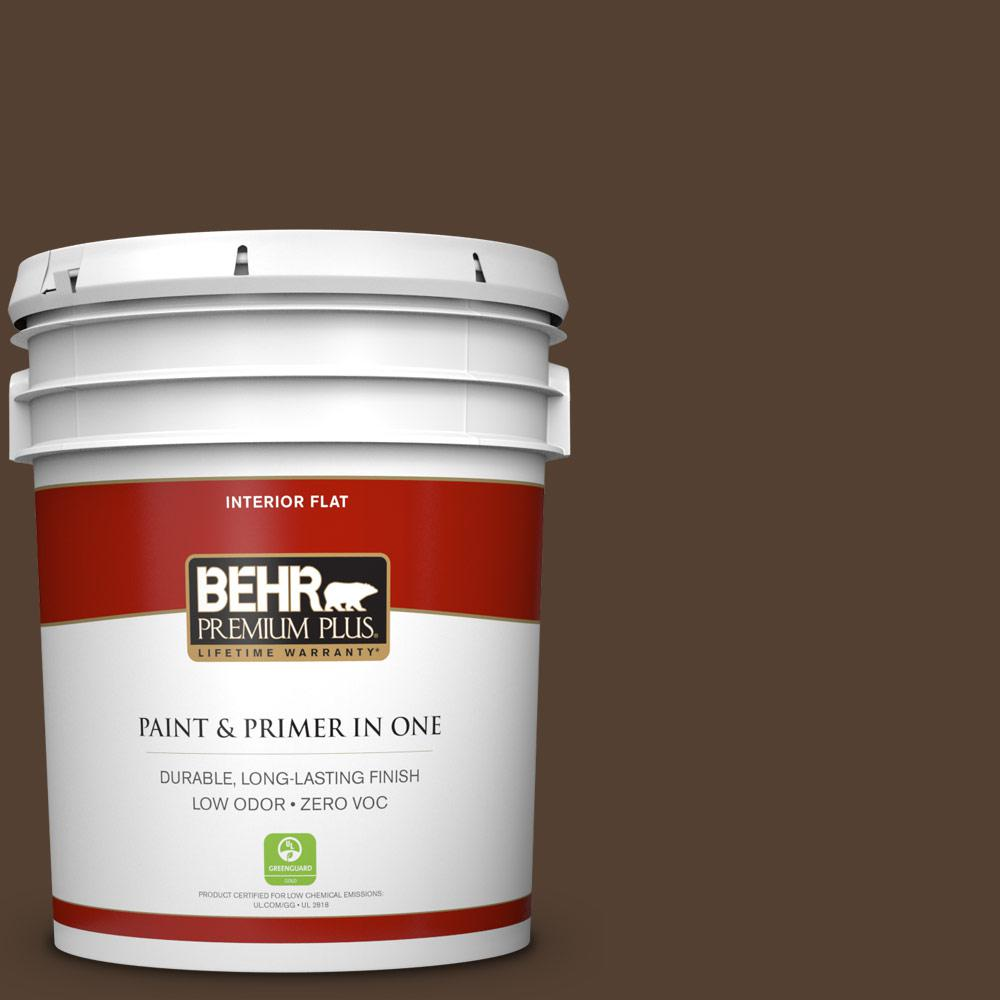5 gal. #BXC-78 Cordovan Leather Zero VOC Flat Interior Paint