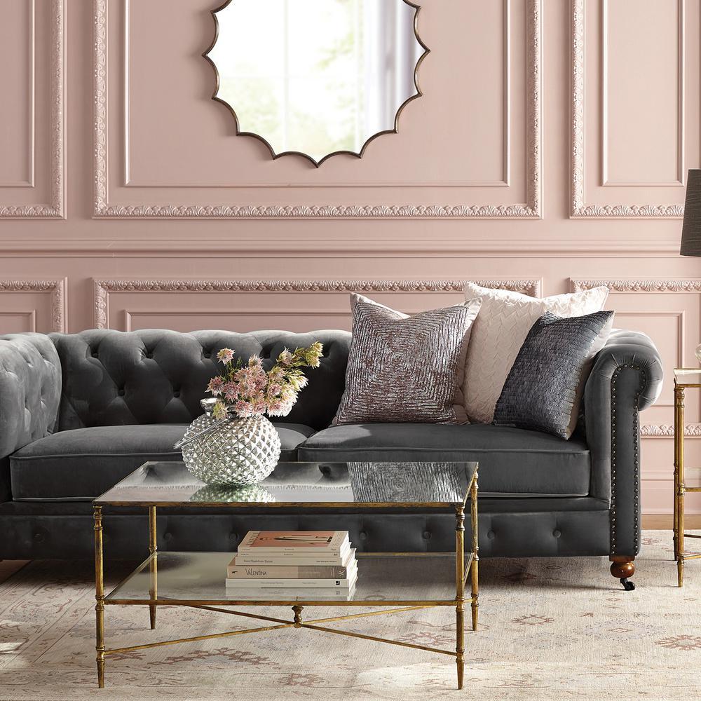 Home Decorators Collection Gordon Grey Velvet Sofa-0849400120 - The Home Depot