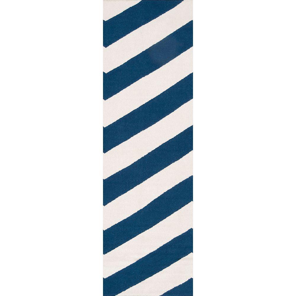 Fijo Dark Blue 3 ft. x 8 ft. Flatweave Runner Rug