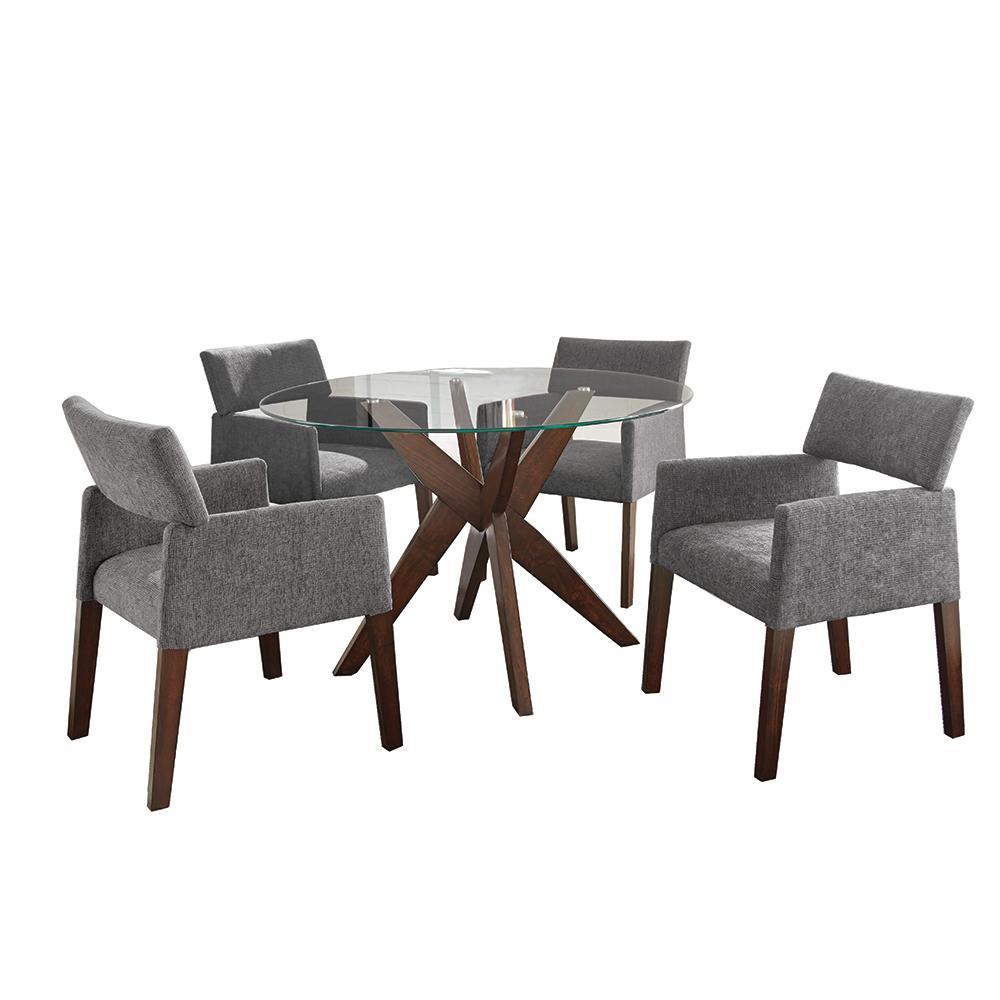 Amalie 5-Piece Grey Chairs Dining Set
