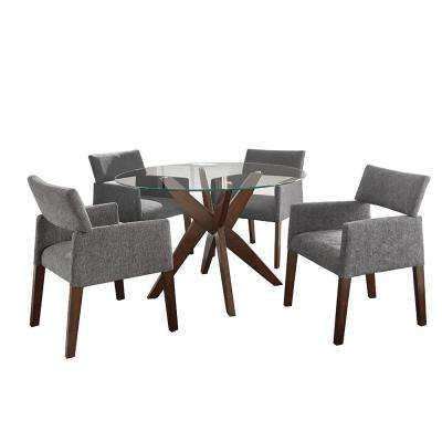 Amalie 5 Piece Grey Chairs Dining Set