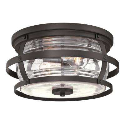Weatherby Weathered Bronze 2-Light Outdoor Flush Mount