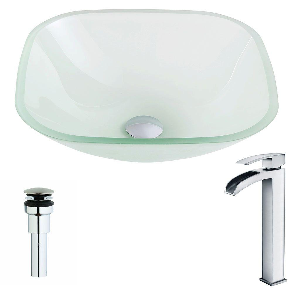ANZZI Vista Series Deco-Glass Vessel Sink in Lustrous Frosted with Key Faucet in Polished Chrome, Clear was $287.99 now $230.39 (20.0% off)