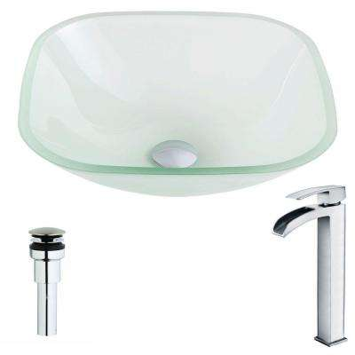 Vista Series Deco-Glass Vessel Sink in Lustrous Frosted with Key Faucet in Polished Chrome