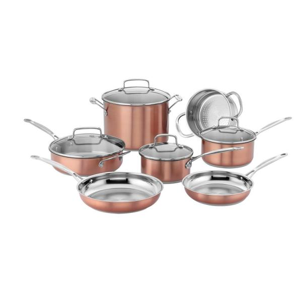 Cuisinart Chef's Classic Stainless Color Series 11-Piece Blush Cookware Set