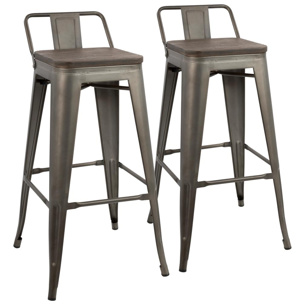 low back bar stools Lumisource Oregon Antique and Espresso Low Back Barstool (Set of 2  low back bar stools
