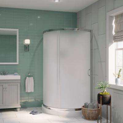Breeze 38 in. x 38 in. x 76 in. Shower Kit with Intimacy Glass, Shower Base and Wall in White