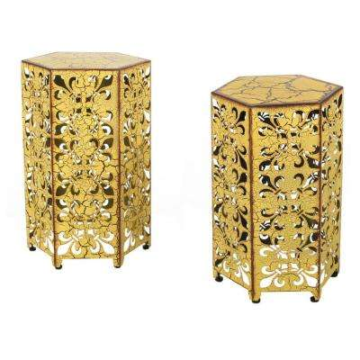 Jeffery Antique Yellow Hexagonal Metal Outdoor Accent Table