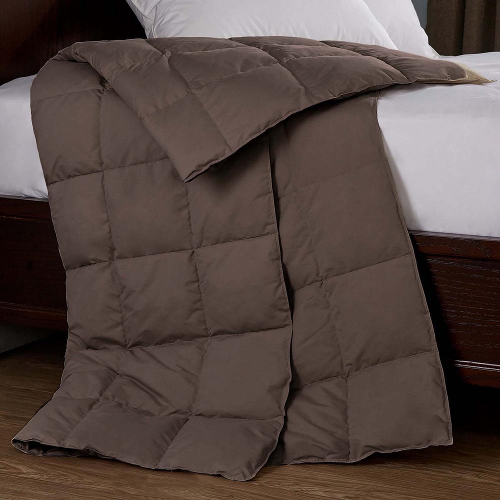 All Season Goose Down Sport 50 in. x 70 in. Chocolate Blanket