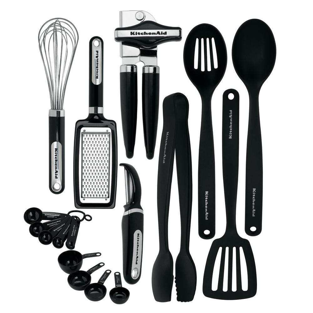 kitchen utensils. KitchenAid 17-Piece Utensils Set In Black Kitchen