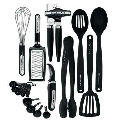 17-Piece Utensils Set in Black