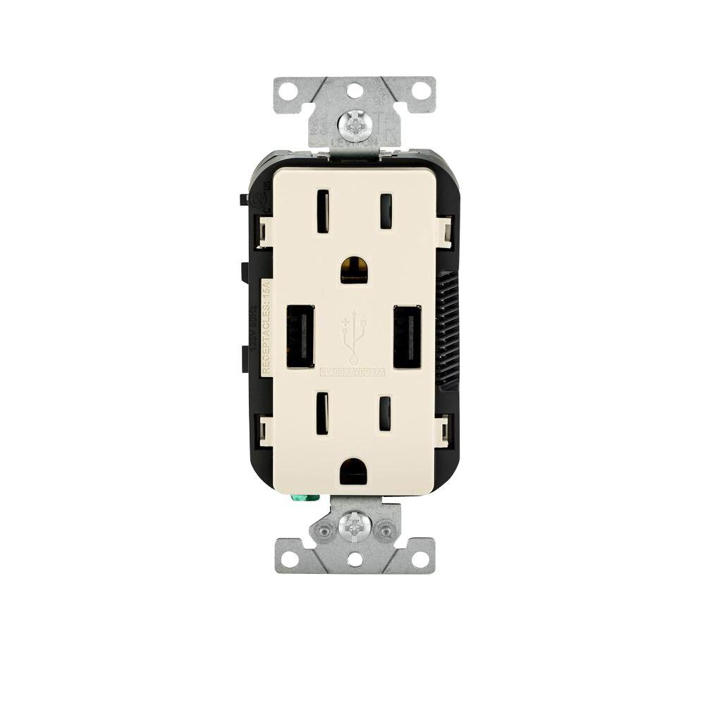 Leviton 15 Amp Decora Combination Tamper Resistant Duplex Outlet And Socket Wiring Diagram Usb White R02 T5632 0bw The Home Depot