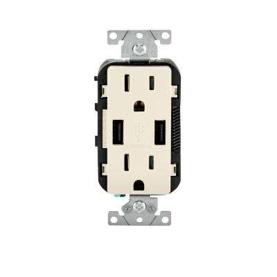 15 Amp Decora Combination Tamper Resistant Duplex Outlet and USB Charger, Light Almond