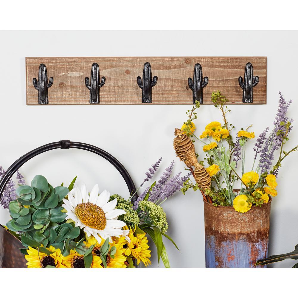 Brown Wood Wall Hook Rack with Black Iron Cactus Hooks