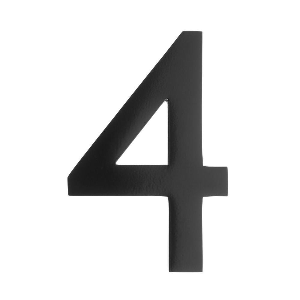 5 in. Black Floating House Number 4