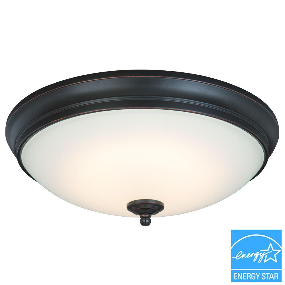 Commercial electric 13 in 60 watt equivalent oil rubbed bronze commercial electric 13 in 60 watt equivalent oil rubbed bronze integrated led flushmount with white glass shade hui8011llorb the home depot aloadofball