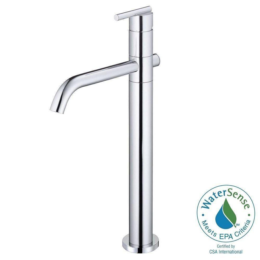 Parma Single-Hole Single-Handle Vessel Bathroom Faucet with Drain Assembly in