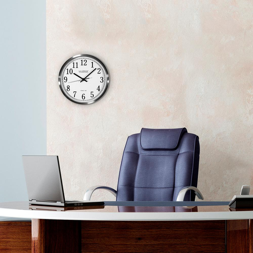 12 in. H Round Atomic Analog Wall Clock in Aluminum