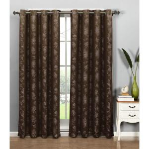 Window Elements Semi-Opaque Danica Faux Embroidered 54 inch W x 84 inch L Grommet Extra Wide Curtain Panel in Jacquard... by Window Elements