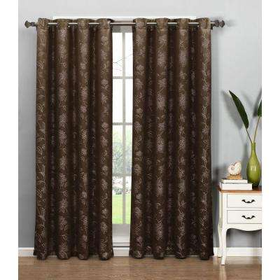 Semi-Opaque Danica Faux Embroidered 54 in. W x 84 in. L Grommet Extra Wide Curtain Panel in Jacquard Chocolate