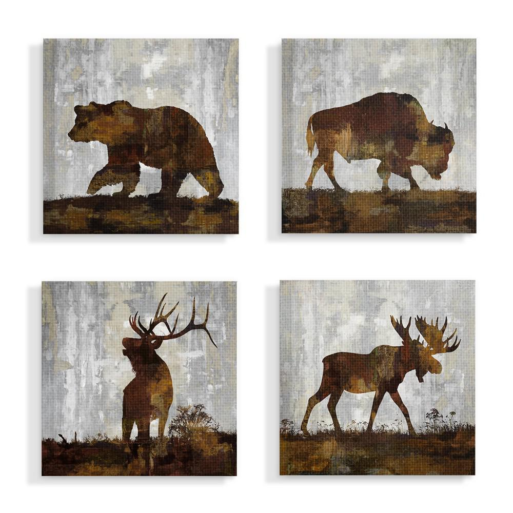 The Stupell Home Decor Collection 17 In X Woodland Animals Bear Buffalo Deer And Moose By Artist Carl Colburn Canvas Wall Art4Pieces