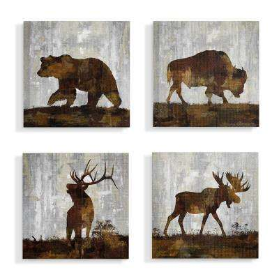 "17 in. x 17 in. ""Woodland Animals Bear Buffalo Deer and Moose"" by Artist Carl Colburn Canvas Wall Art(4Pieces)"