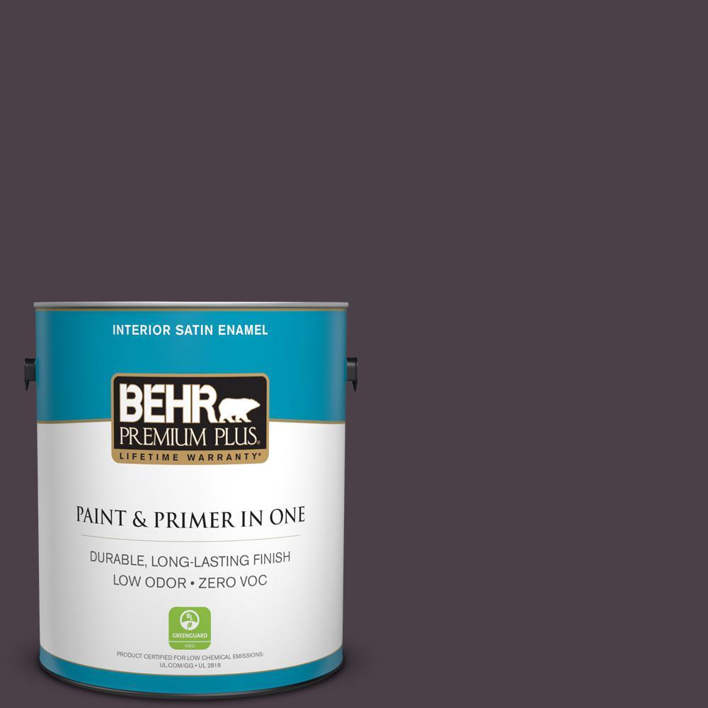 BEHR Premium Plus 1-gal. #T13-10 Plum Orbit Zero VOC Satin Enamel Interior Paint