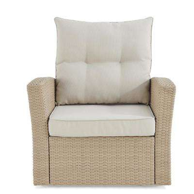 Canaan Brown Stationary All-Weather Wicker Outdoor Lounge Chair with Cream Cushions