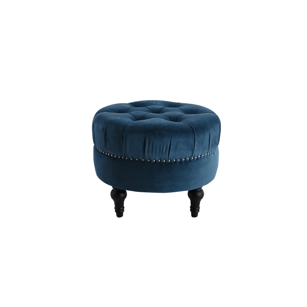 Dawn Satin Teal Tufted Round Ottoman